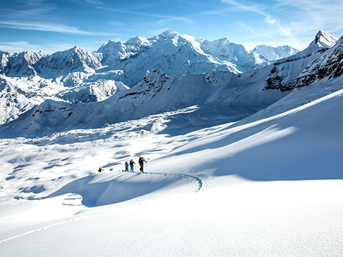 ski touring in megeve with a ski instructor